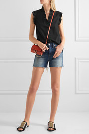 Ruffled stretch-crepe top