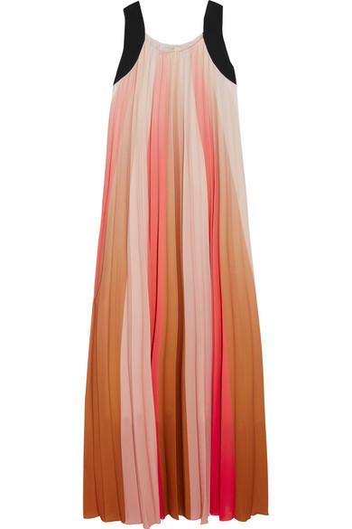 Maje - Pleated Ombré Crepe De Chine Maxi Dress - Coral