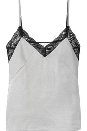 Lace-trimmed striped twill camisole