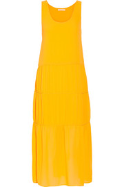 Tiered crepe midi dress