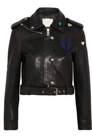 Maje Embroidered leather biker jacket