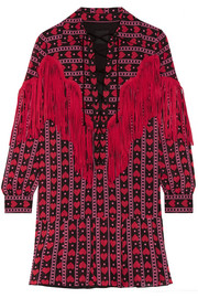Anna Sui Fringed printed cotton and silk-blend mini dress