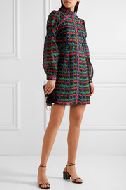 Anna Sui Embroidered printed cotton and silk-blend gauze mini dress