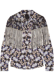 Anna Sui Oops A Daisy fringed lace-paneled printed silk-blend jacquard blouse