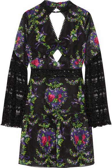 Bird Garland cutout lace-paneled fil coupé chiffon mini dress