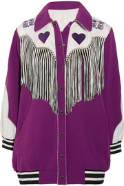 Fringed appliquéd crepe jacket