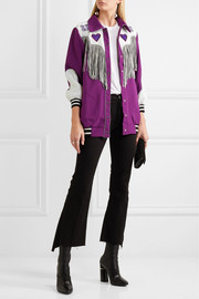 Anna Sui Fringed appliquéd crepe jacket