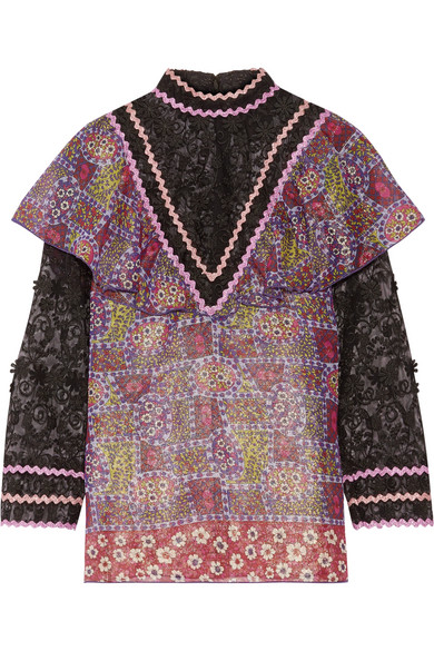 Anna Sui - Embroidered Tulle And Printed Silk-blend Chiffon Blouse - Purple