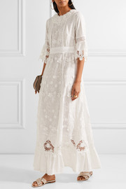 Anna Sui Daisy Fields appliquéd silk-blend and broderie anglaise cotton maxi dress