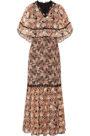 Embellished printed silk-chiffon and cotton-blend voile maxi dress