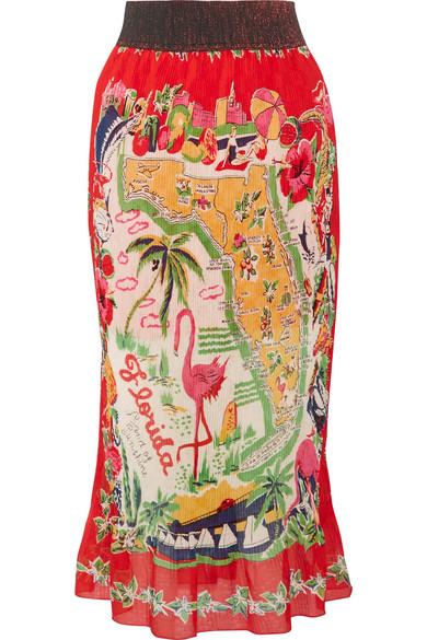 Anna Sui - Florida Plissé Printed Silk Midi Skirt - Red