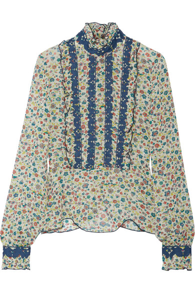 Anna Sui - Ruffle-trimmed Embroidered Printed Silk-georgette Blouse - Green