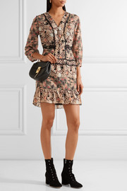 Embellished printed silk-chiffon and cotton-blend voile mini dress