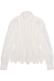 Daisy Fields silk-blend and broderie anglaise cotton blouse