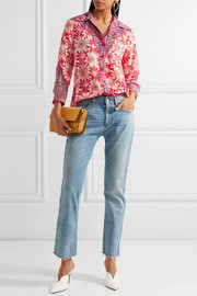 Anna Sui Embroidered printed silk-crepon shirt