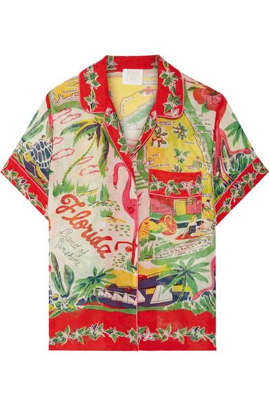 Anna Sui - Florida Printed Silk-jacquard Shirt - Red
