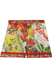 Florida printed silk-jacquard shorts