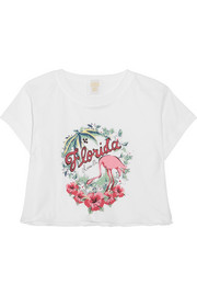 Florida cropped printed cotton-jersey T-shirt