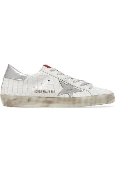 Nouveaux produits 8c223 4652a Super Star distressed croc-effect leather sneakers
