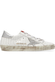Golden Goose Deluxe Brand Super Star distressed croc-effect leather sneakers