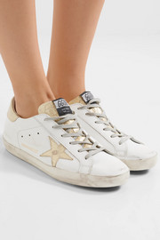 Super Star distressed croc effect-paneled leather sneakers