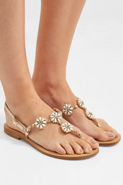 Embellished metallic leather slingback sandals