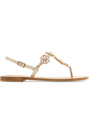 Musa Embellished metallic leather slingback sandals