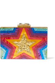 Taylor glittered Perspex box clutch