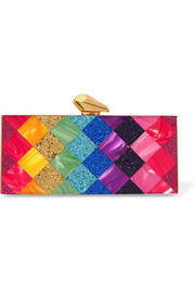 Levin glittered Perspex box clutch