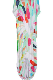 Dashiki off-the-shoulder printed textured-crepe maxi dress