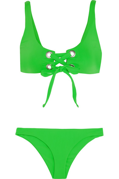 Mara Hoffman - Lace-up Bikini - Lime green