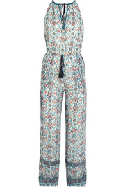 Embroidered printed silk-georgette jumpsuit