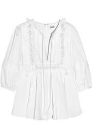 Talitha Geeti tasseled pintucked lace-trimmed cotton blouse