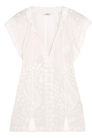 Talitha Tasseled embroidered cotton-gauze blouse