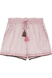 Tasseled embellished printed cotton and silk-blend gauze shorts