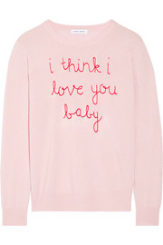 Lingua Franca I Think I Love You Baby embroidered cashmere sweater