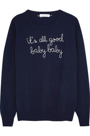 Lingua Franca It's All Good Baby Baby embroidered cashmere sweater