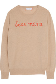 Lingua Franca Dear Mama embroidered cashmere sweater