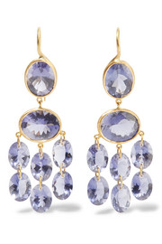 Chandelier 22-karat gold iolite earrings