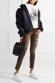 R13 Kate distressed leopard-print low-rise skinny jeans