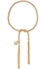 Carolina Bucci Peace Lucky 18-karat gold and silk charm bracelet