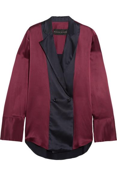 Michael Lo Sordo - Two-tone Silk-satin Shirt - Merlot