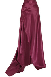 Michael Lo Sordo Empress asymmetric silk-satin maxi skirt