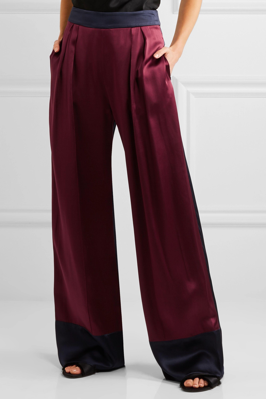 Michael Lo Sordo Zweifarbige Hose mit weitem Bein aus Seidensatin
