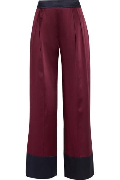 Michael Lo Sordo - Two-tone Silk-satin Wide-leg Pants - Merlot