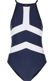 Nordic open-back two-tone swimsuit