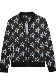 Printed stretch-mesh bomber jacket