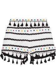 Embellished embroidered cotton-gauze shorts