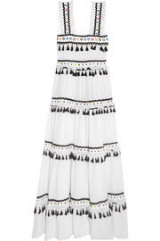 Tiered embellished embroidered cotton-gauze maxi dress