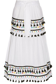 Dodo Bar Or Ataliya tassel-trimmed embellished cotton-gauze skirt
